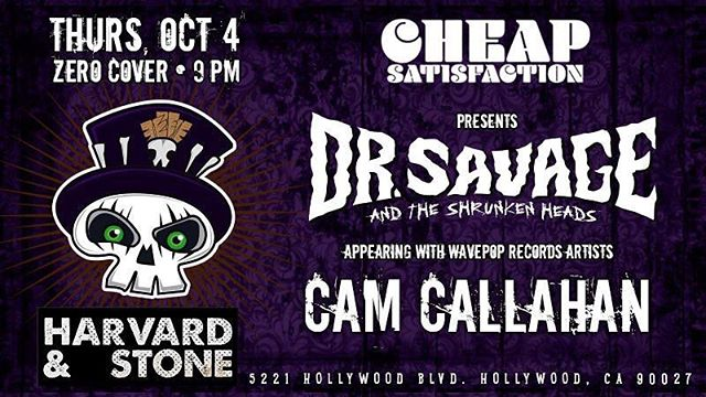 If you are in LA next week, make sure you go see our founder shake his ass off at Harvard & Stone! #losangeles #drsavageandtheshrunkenheads #camcallahanandcampaignrevival @campaignrevival
