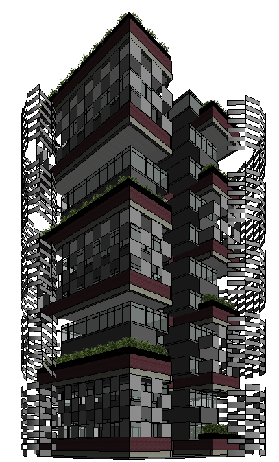 Sample High Rise In Revit, were I play with different screen and curtain wall assemblies to provide a balance between positive and negative light as well as acoustics.
