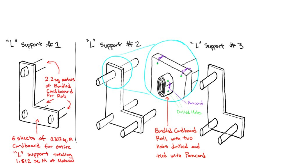 """Joint detailing for our Cardboard Swing Couch. After creating a few versions of the couch and messing up, we finally decided to produce a simple yet effective design that was comprised of three, """"L"""" shaped supports connected by three beams. Knowing that the couch was going to be exposed to more tension forces than compression, I made sure that we were putting material only where it needed to be. What was important structurally was that the beam sizing would be correct. Making the beams ellipses rather than circles allowed the beams to be exposed to more forced in the vertical direction."""
