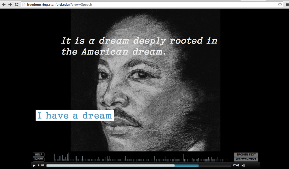 Screenshot from the website. The text plays in a vertical scroll in time with King's speech while the visuals change continuously. Blue text can be clicked to take the user to video interviews, historical media and additional annotations. The user can also change views to see the extemporaneous parts of the speech, what was prepared, and which pieces King left out while standing on the podium.