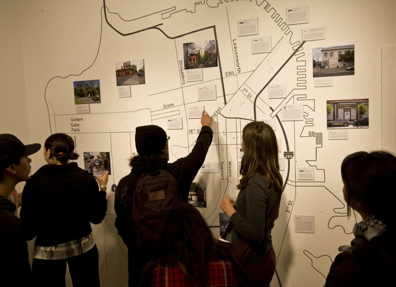 The gallery installation highlighted the project as well as arts providers in San Francisco. The map included all of the portraits and  many of the free and low-cost art programs in the city.