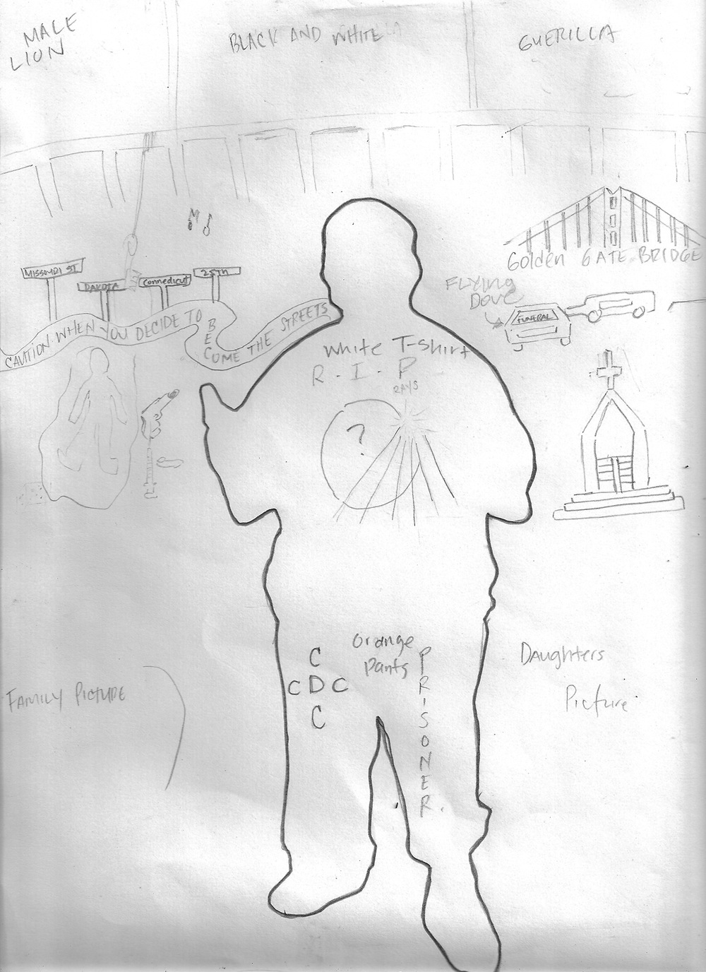 Draft sketch created by Ben for his portrait. The silhouette in the middle is based on a staged photograph that we created.