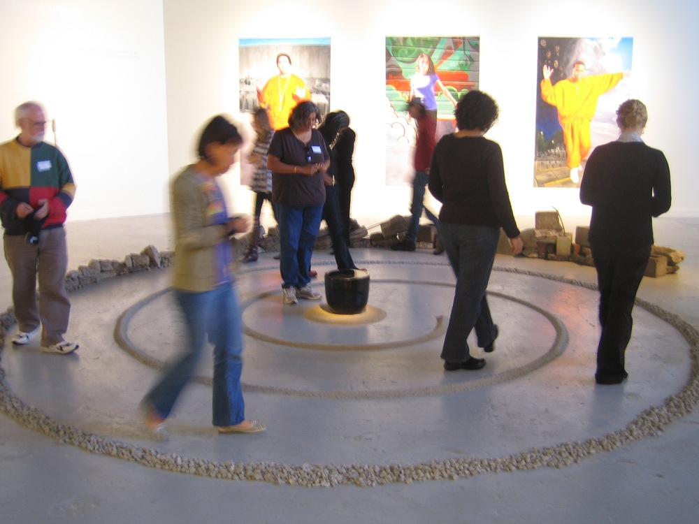 The labyrinth in use during a workshop.