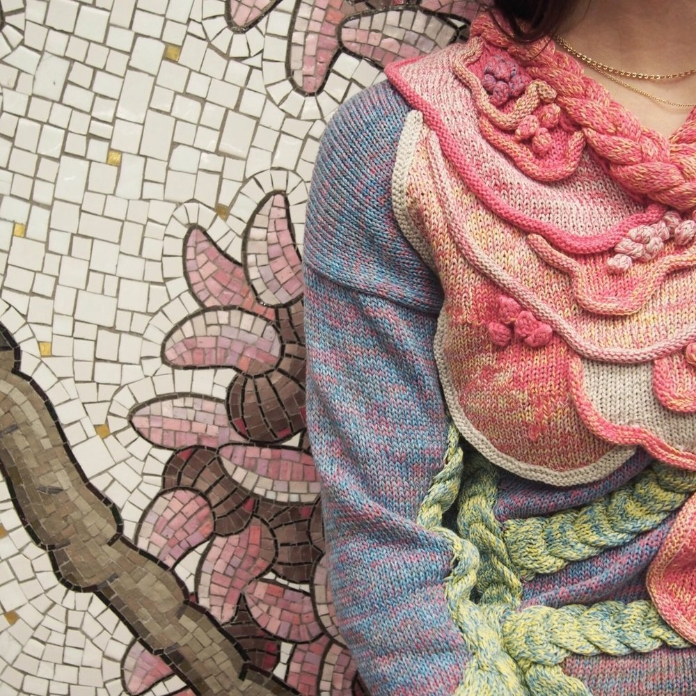 - The great thing about knitwear is that full-fashion sweaters are knit to exactly to size, so they naturally waste very little material. Any leftover yarn is donated to Parsons, Elizabeth's alma mater, so the materials can bring inspiration to other designers. Leftover swatches are stitched and embroidered to transform into unique textured quilts with their own stories. Starting in 2019, we will also start sending unused swatches to Fab Scrap, a non-profit that recycles waste in the textile industry.