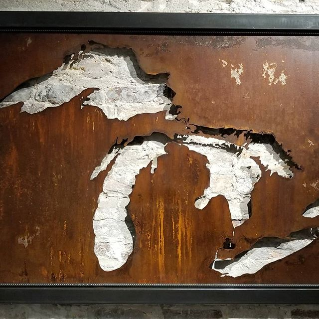 """Restocking the store. 2x36x66"""" Great Lakes gets the brick wall. #greatlakes #metalart #arcacademy"""