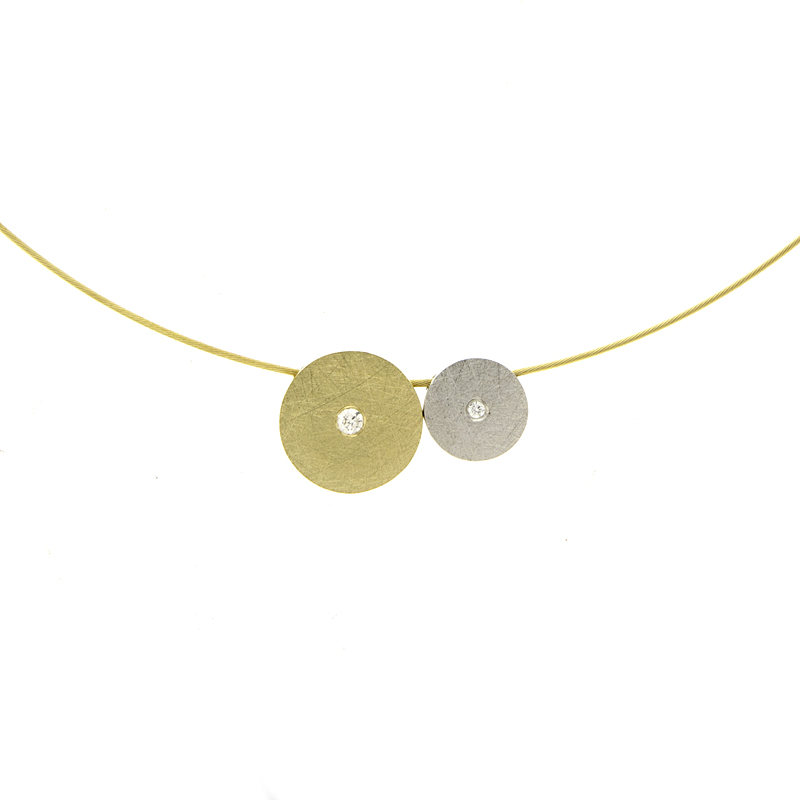 Two Tone Gold and Diamond Disc Necklace