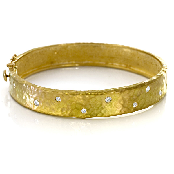 Hammered Gold and Diamond Bracelet