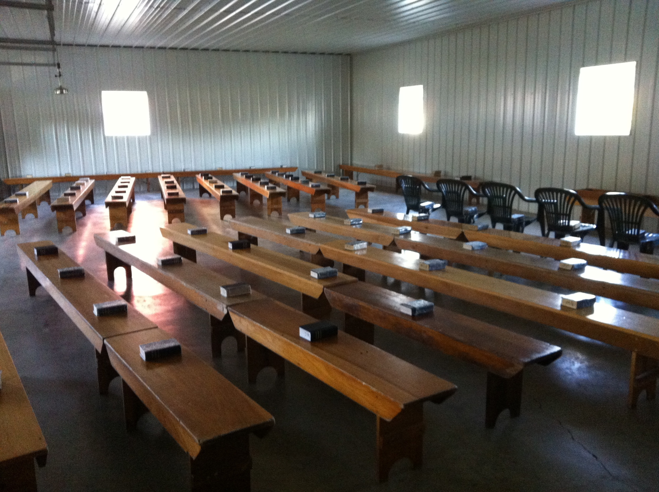 """Amish """"church"""" prepared and ready for Sunday."""