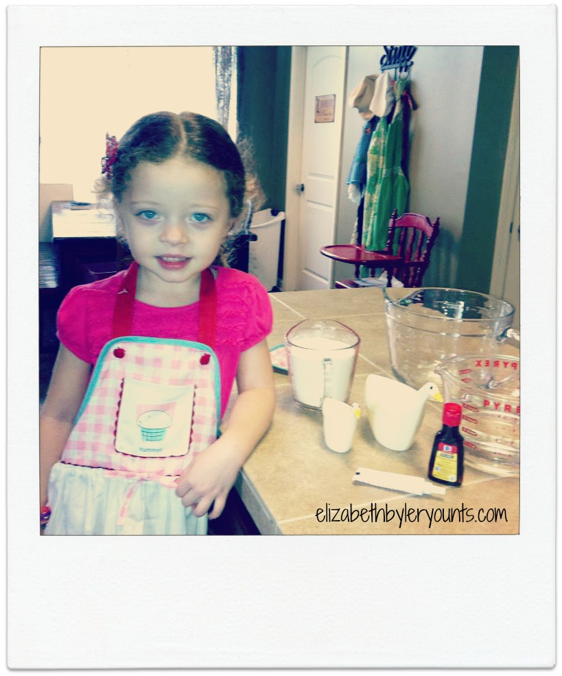 "Here's my sweet ""Curly"" ready for our first Homeschool Project in K4! Making play-doh! This was the start to a great adventure!"