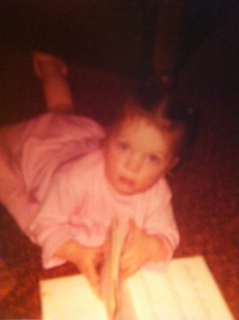 Me as a little Amish girl. I always looked at books or wrote in a notebook before bedtime.