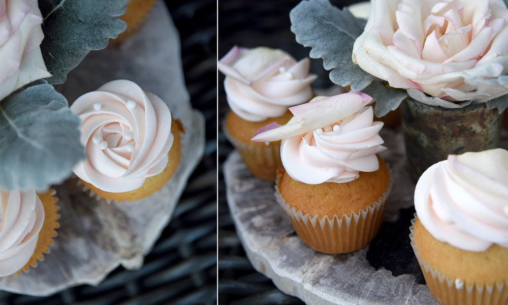 Petals & Pearls Artisan Cupcake   4.25 each  Champagne cupcakes and champagne buttercream combined with a shimmery rose petal and edible pearls for a most feminine cupcake!   (Available in February and May)