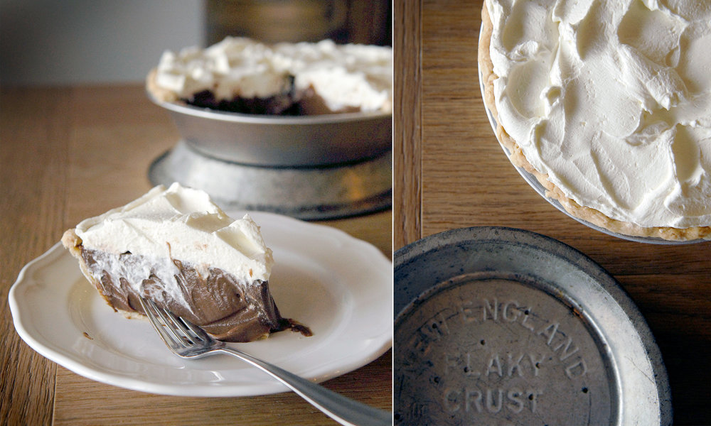 Chocolate Cream Pie   5.25 per slice / 38 whole  Our favorite chocolate cream pie in the world! (Another of Etta Lea Pope's almost-famous recipes!) We cook the chocolate filling on our stovetop and pile it thickly into our crust. Once chilled it gets a high pile of freshly whipped cream from Homeland Creamery! Divine.