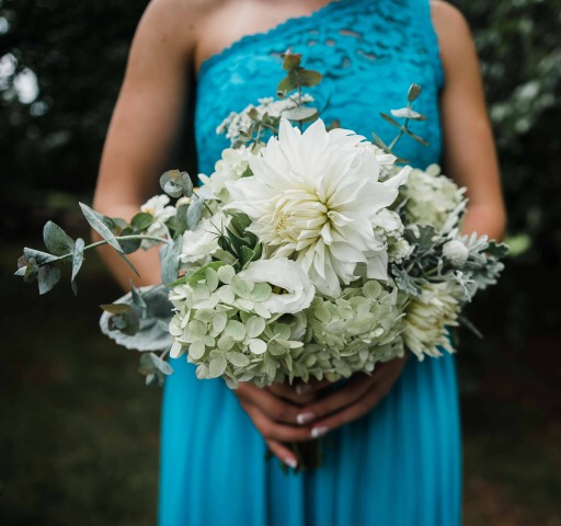 Bridesmaid Bouquet with Dahlia, Hydrangea, Eucalyptus and Dusty Miller. Photo credit: Magnality Photography