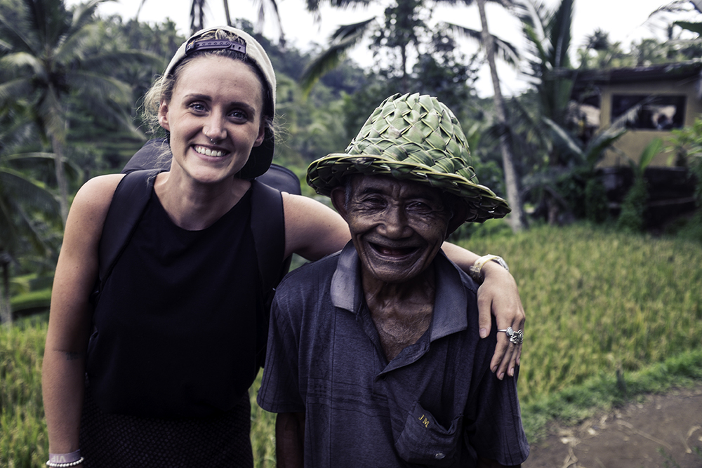 Aimee and her mate, Ubud rice paddy