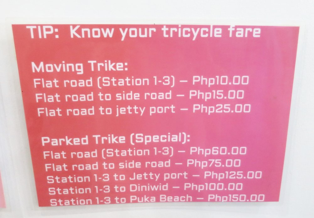 Tricycle Prices, Boracay