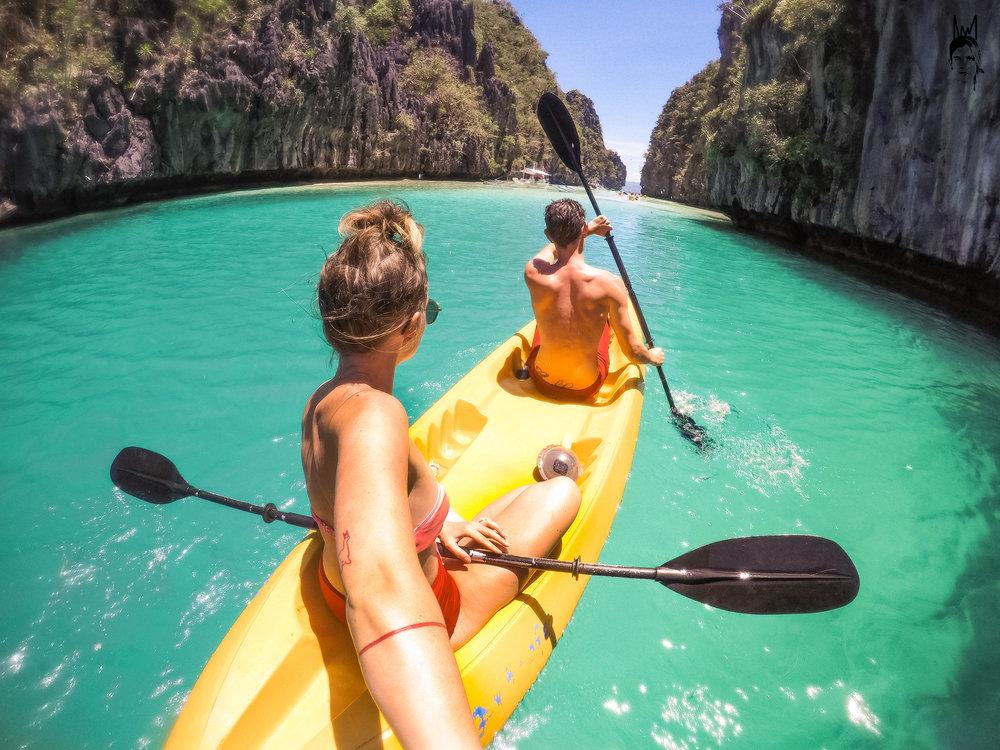 Kayaking around Big Lagoon, El Nido