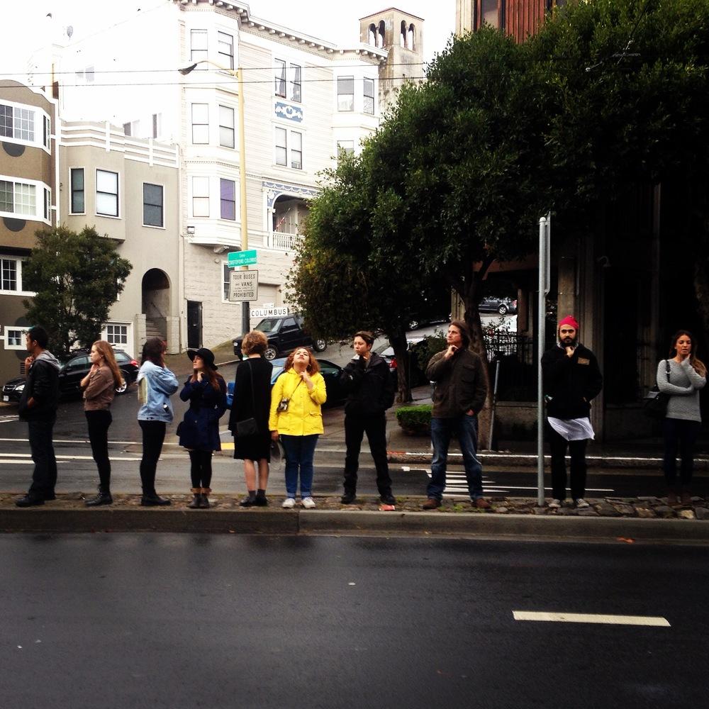 Students conducting rhythmanalysis of Columbus St. in San Francisco