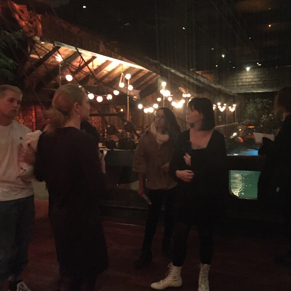 Students on a private tour of The Tonga Room and Hurricane Bar in San Francisco.