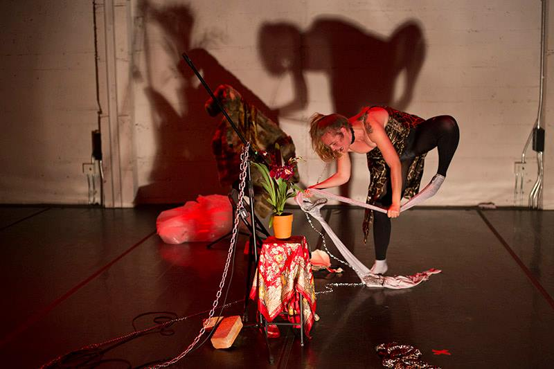 TPM-MFA student Lindsey Greer Sikes performing at Counter Pulse, SF (2016). Photo by: Deirdre Visser.