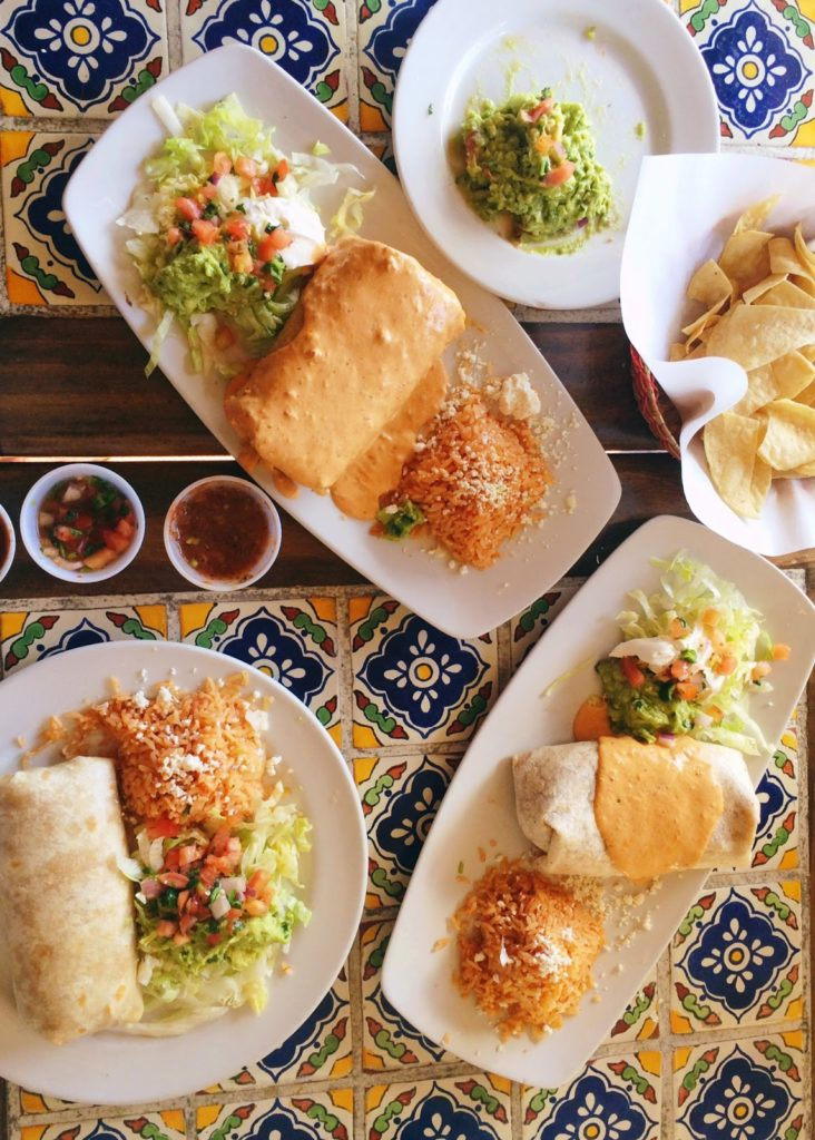 Los Agaves burritos on traditional tile