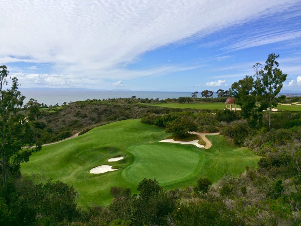 Golf course with ocean view and rotunda at The Resort at Pelican Hill