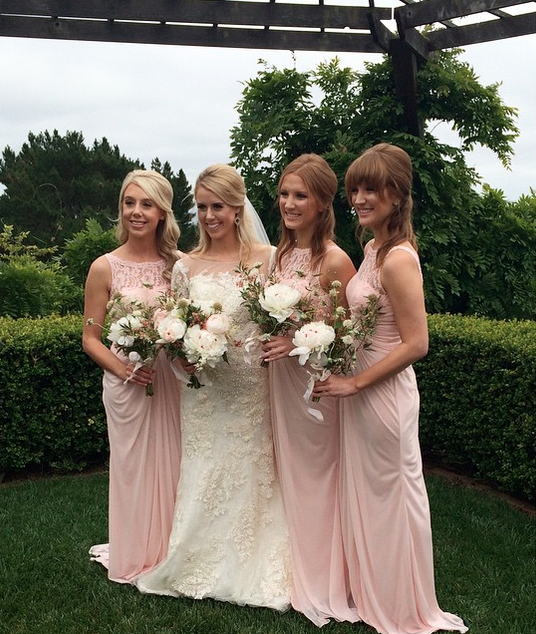 Bride-to-be and three maid of honor women