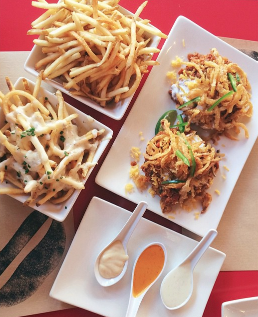 Truffle fries and open-faced vegetarian meal at Umami Burger in Hollywood