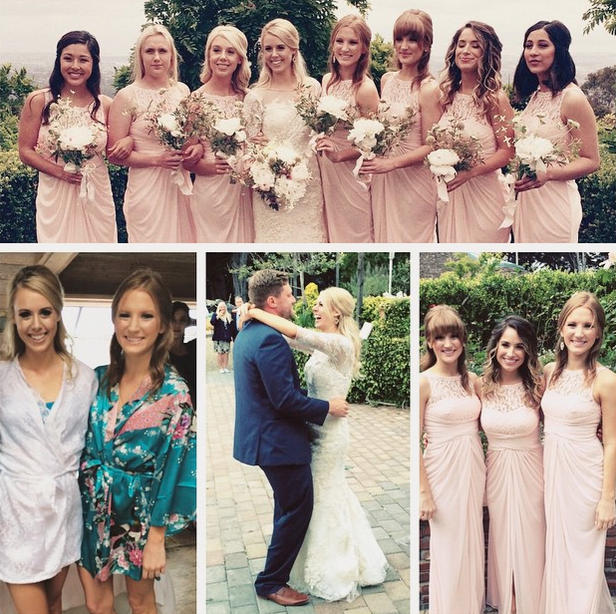 Bridesmaids in pink dresses and an outdoor first dance