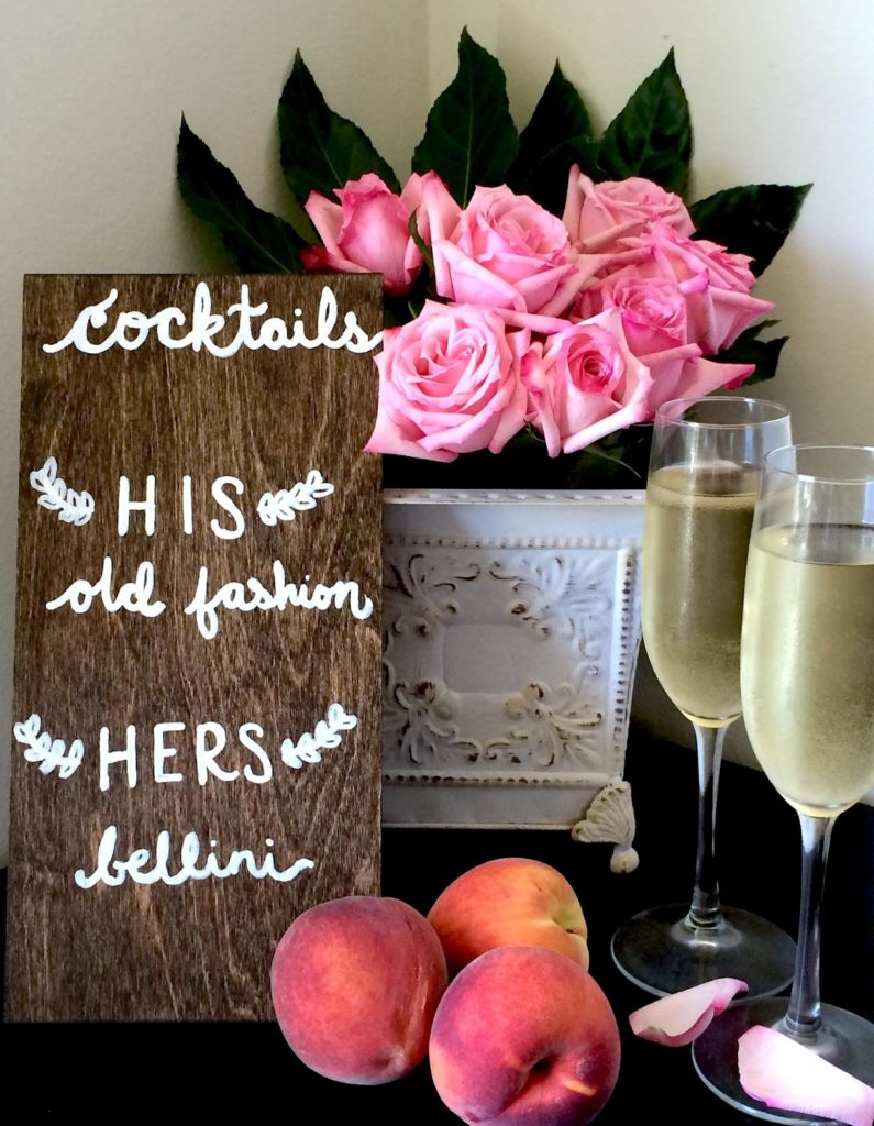 signature cocktail menu with champagne and peach