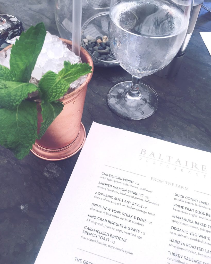 Copper julep goblet with Baltaire menu
