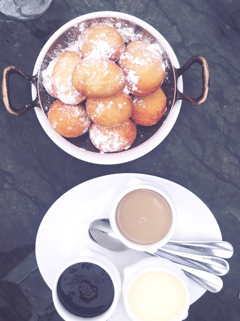 NOLA style beignets with three dipping sauces