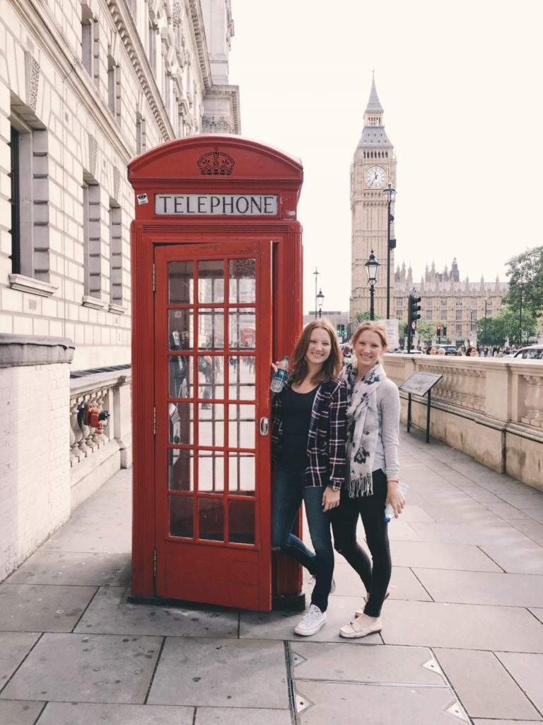 Brooke and Kelcy at phonebooth with Big Ben in background
