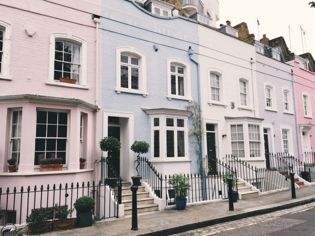 Pastel painted homes in London