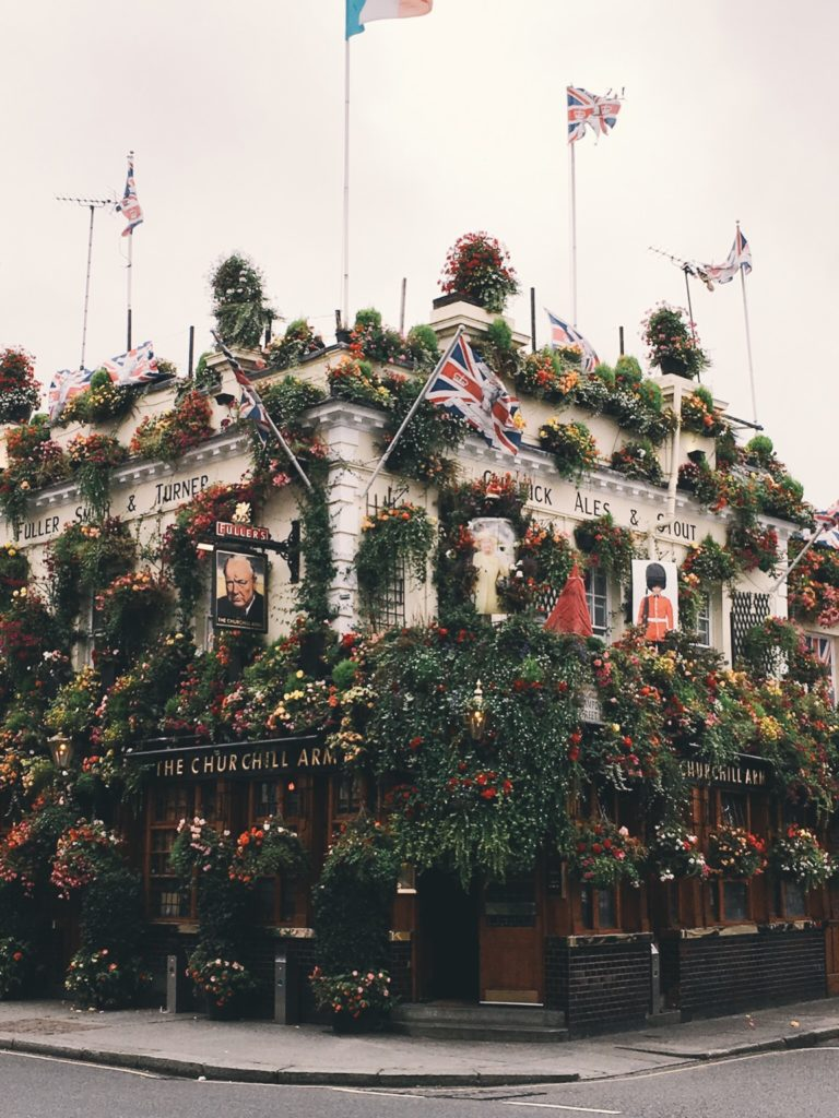 Flower covered pub outside of Notting Hill