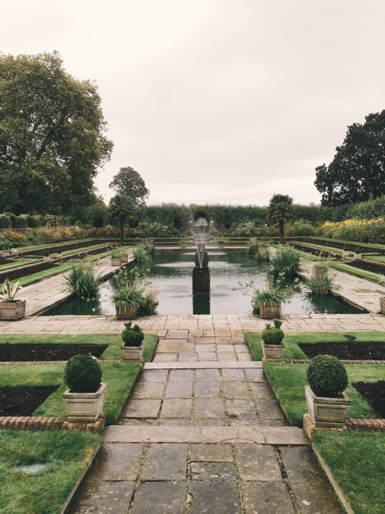 View of pond in gardens of Kensington Palace
