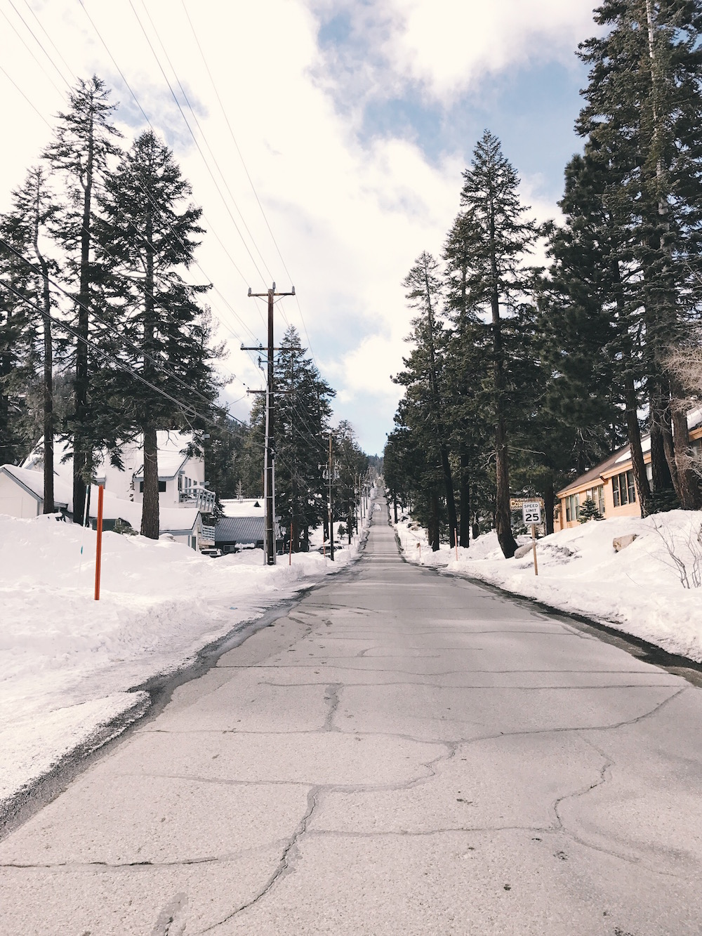 Tree-lined street with cabin condos in Mammoth