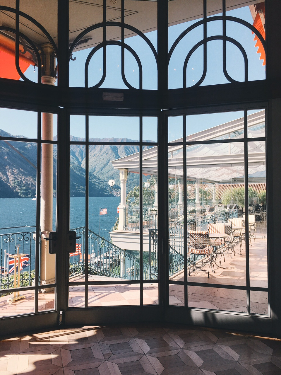 Views of Lake Como and T Bar Restaurant from lobby of Grand Hotel Tremezzo