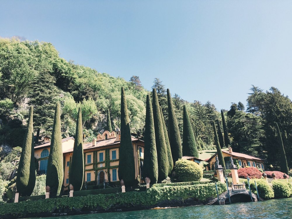 View of Richard Branson's Lake Como villa from the water