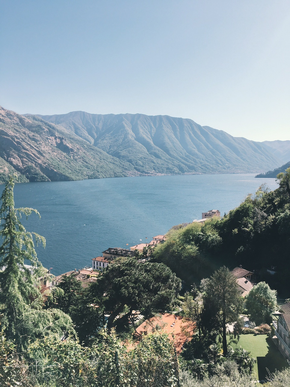 View of Lake Como mountains and lake from top of hike