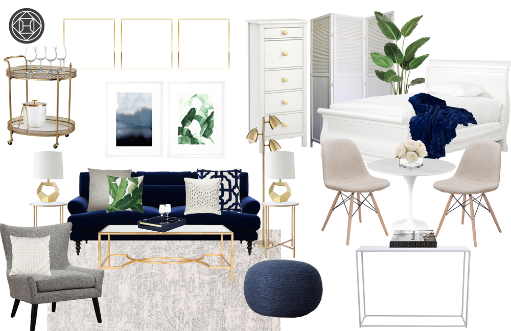 Havenly design studio apartment new york city design board with navy and white gold coastal design