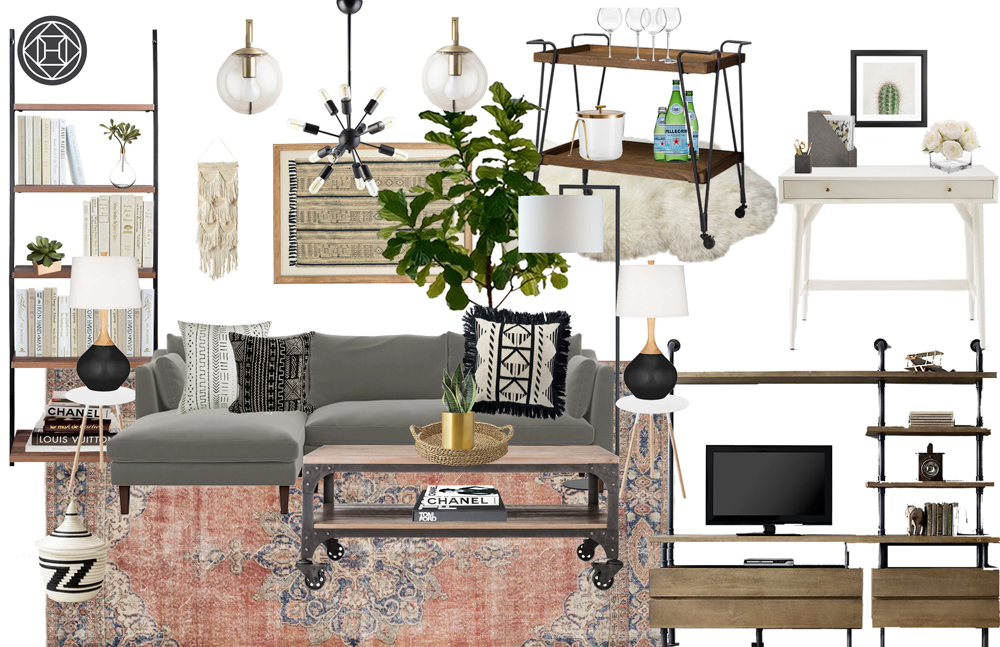 Havenly design concept design board for living room with bohemian and eclectic design