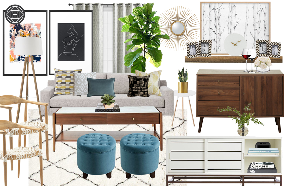 Havenly design mid-century modern living room with blue, yellow, black white gold details