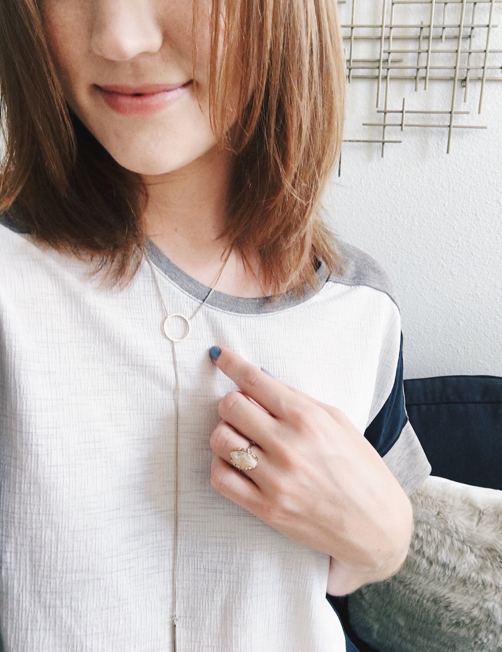 Thin gold necklace and ring