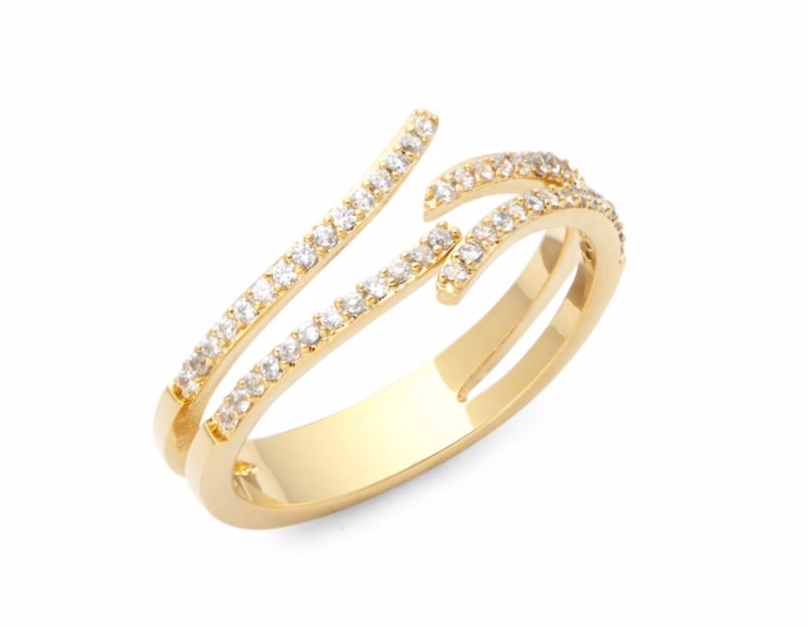 Gold asymmetrical ring with diamonds