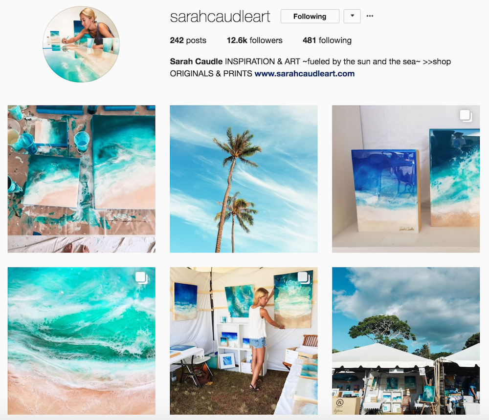 Screenshot of @sarahcaudleart Instagram page
