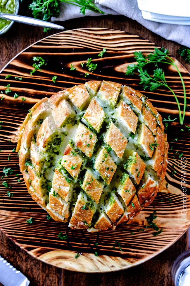 game day recipe ideas cheesy pull apart pesto bread