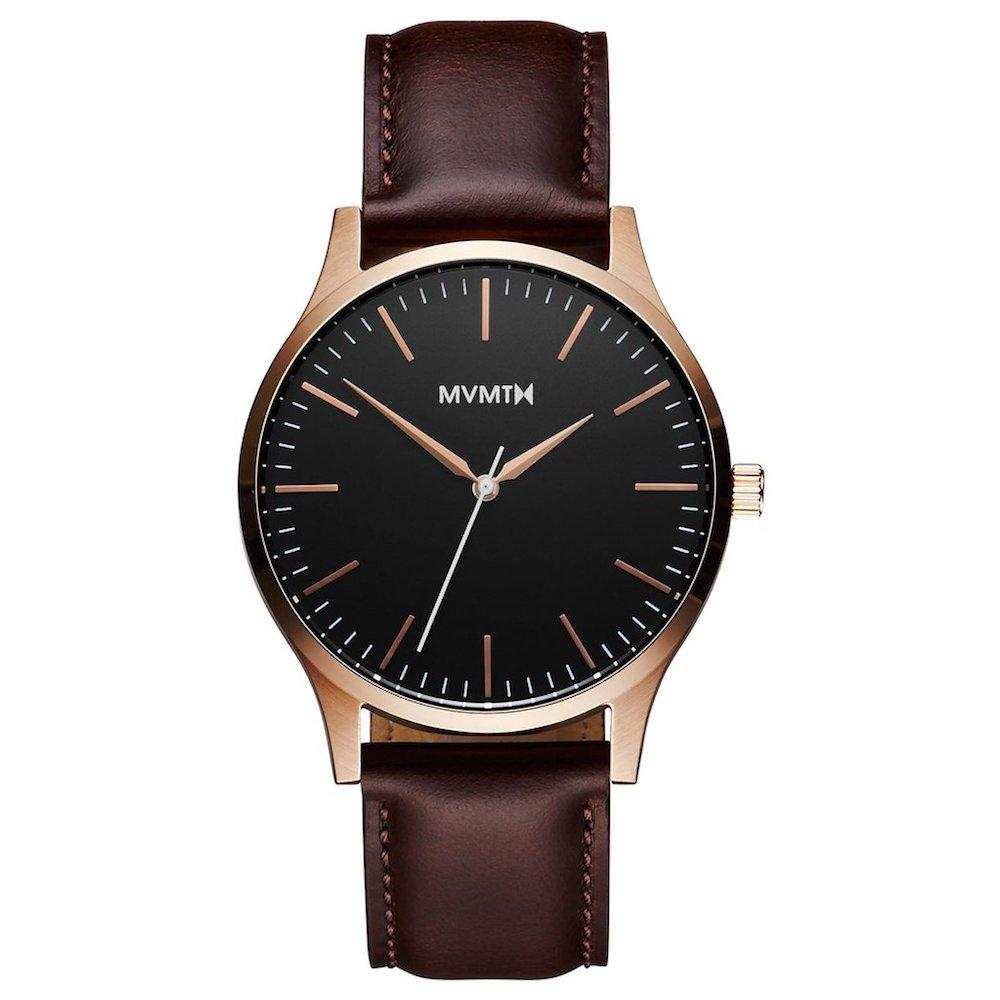 Dark leather and brass watch