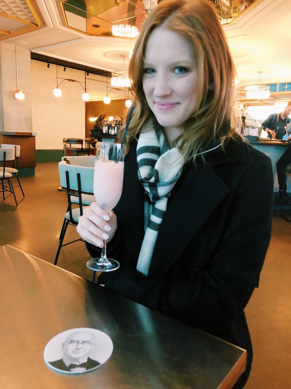 Frozen rose drink at hotel bar