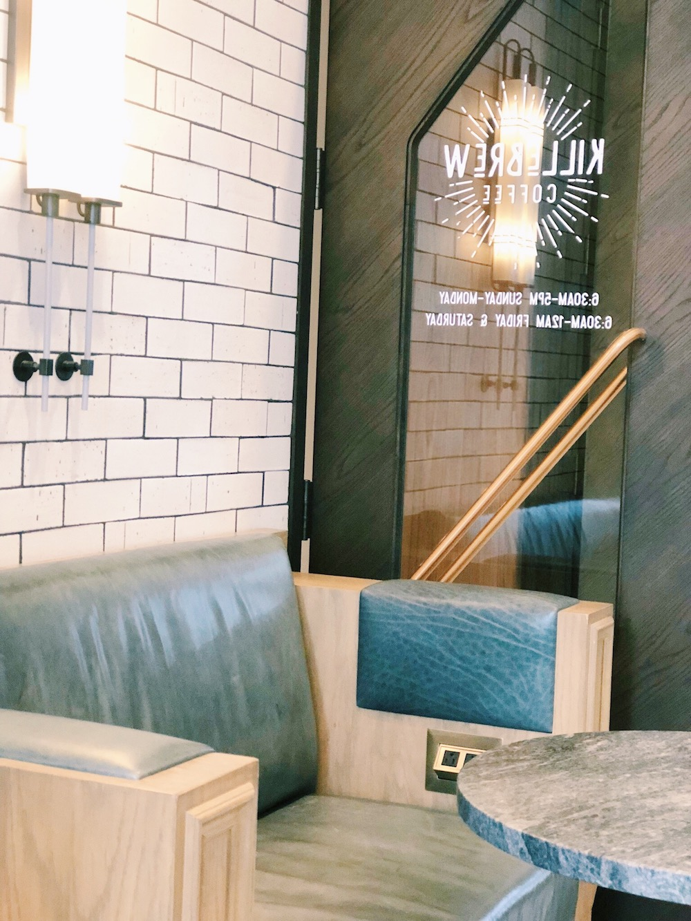 Seating area and door at coffee shop