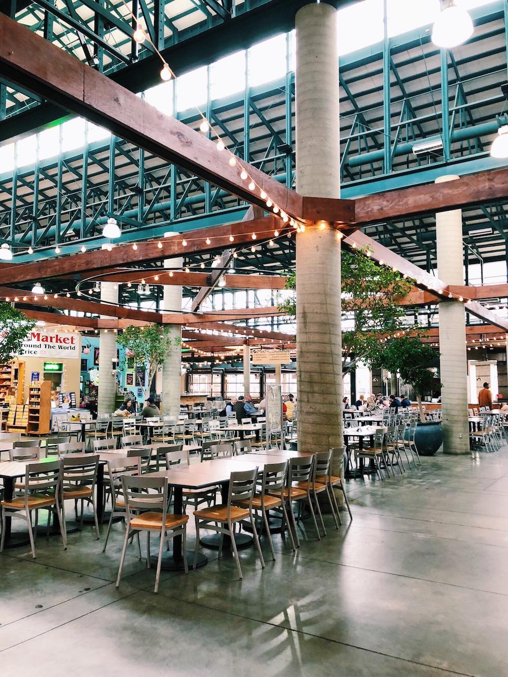 Wood panels and shops restaurants